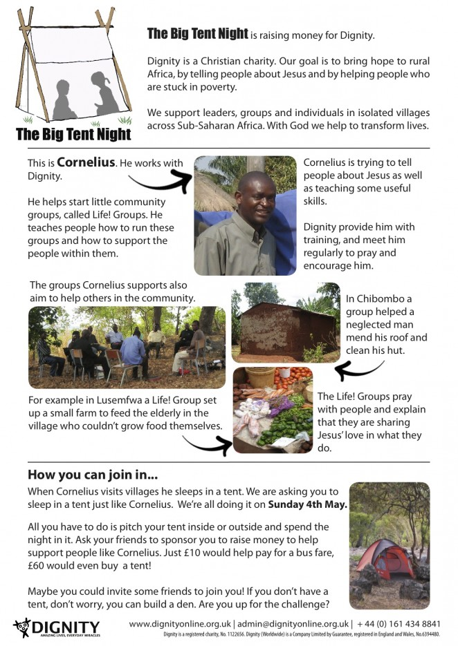Big Tent Night Information Sheet